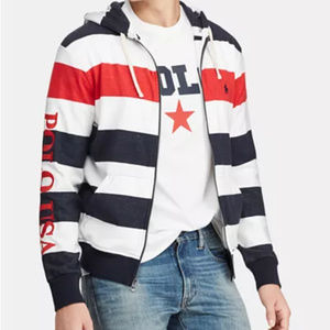 Polo Men's Striped Terry Americana Hoodie